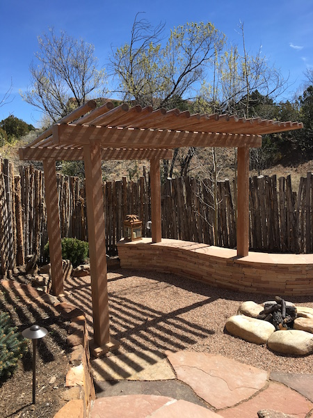 Pergola with gas firepit
