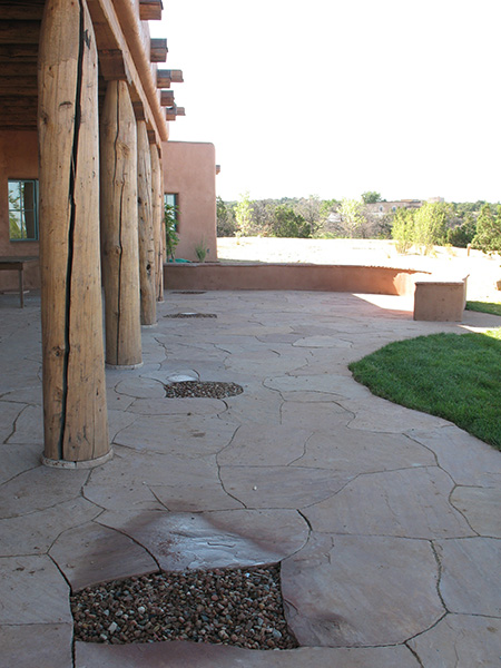 Catchment basins set in Flagstone patio